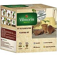 Vilmorin 3990624Pack de 12recipientes con coco 6cm + 12pastillas de fibra de coco comprimida