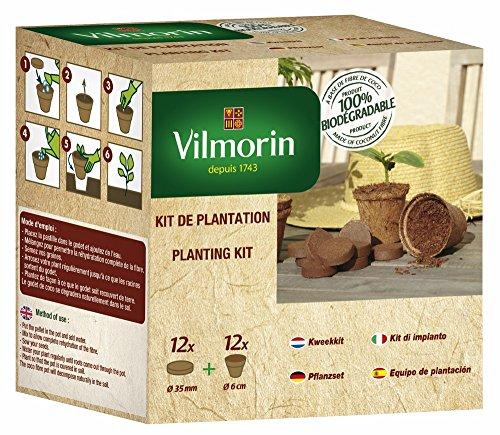 Vilmorin 3990624 Pack Godets 6 cm + 12 Pastilles Fibre de Coco Compressée, Marron
