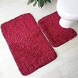 Olydmsky Toilette Zweiteilige Set Teppich absorbierende Anti-Rutsch-Lamm Fleece Matte Home WC Tür Fußmatte