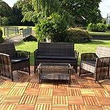 Melko Lounge Sofa-Garnitur Gartenset, Poly Rattan, mit Glastisch, Braun, inklusive Kissen, 4 tlg.