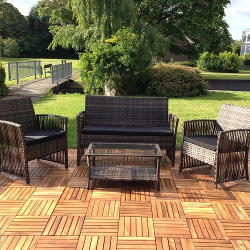 Melko Lounge Sofa-Garnitur Gartenset, Poly Rattan, mit Glastisch, Braun, inklusive Kissen, 4 TLG. -