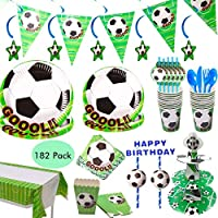 Amycute 182 Pcs Football Party Supplies Kids Birthday Tableware, Including Disposable Football Plates Cups Tablecloth Napkins Straws Knives Forks Spoons Banner (20 Guests)