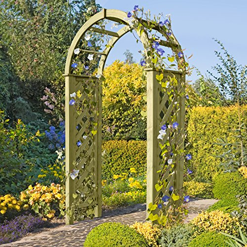 Pergola mit Rundbogen 119x58x240 cm Rosenbogen aus Holz mit Rankgitter von Gartenpirat®