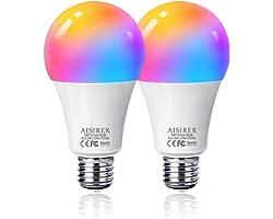 Bombilla LED Inteligente WiFi, AISIRER 10W 1000LM E27 Lámpara, WiFi Bombilla Luces Cálidas/Frías & RGB Funciona con Alexa (Ec