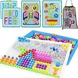 Qchomee Creative Jigsaw Puzzle Board 296 PCS Mushroom Nails Pegboard DIY Assorted Color