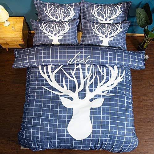 Xwliu cervo set copripiumino la federa, rich geometric set biancheria da letto blu,173x218cm