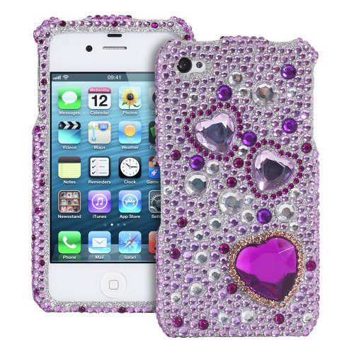 Bling/Crystal Case for Apple iPhone 4/4S - Diamond Crystal Large Purple Hearts (AT&T & Verizon)