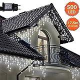 Eiszapfen Lichterketten 500 LED lichterkette außen, Helle Weiße Baum Lichter, Länge 17,5m, GS Geprüft, Optional mit 8 Leuchtmodi/Memory/ Timer, Grünes Kabel - 2 Jahre Garantie