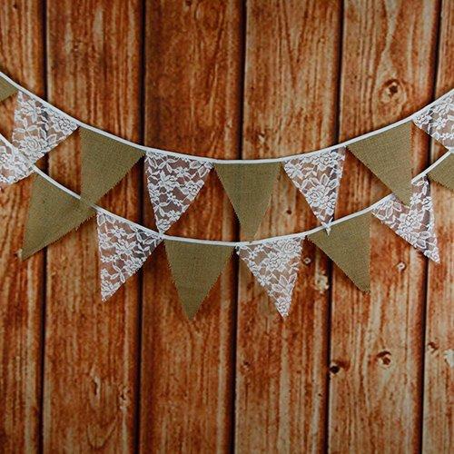 12 Schöne Spitze Lace Wimpel Girlande Süße Bunting Wimpelkette Farbenfroh Wimpeln für Draußen Hochzeit