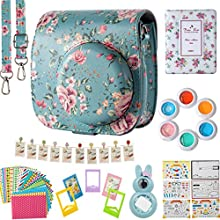 Flylther Compatible Mini 8 9 Camera 8-in-1 Accessories Bundles Set for Fujifilm Instax Mini 8 9 Instant Film Camera(Case,Albums,Frames,Film Stickers,Colored Filters,Selfie Lens) - Vintage Flower