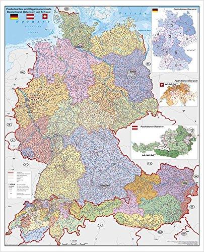 Postleitzahlenkarte Deutschland-Österreich-Schweiz PLZ- u. Organisationskarte, 97 x 119 cm als Poster