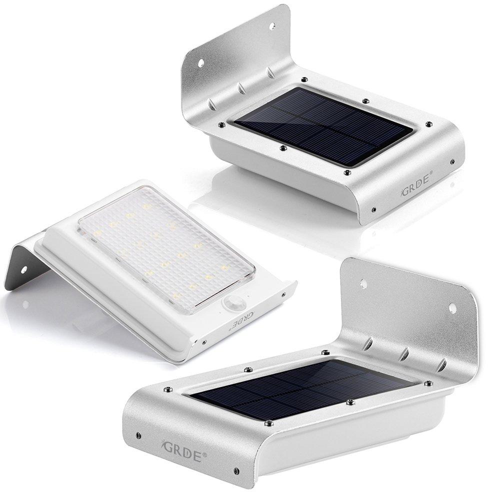 Illuminazione Giardino Solare con Sensore di Movimento GRDE® 160lM Lampade da Parete per Esterno,La