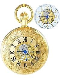 Ogle impermeable oro romano blanco colgante collar cadena Fob Self bobinado automático bolsita para trinchar esqueleto mecánico reloj de bolsillo