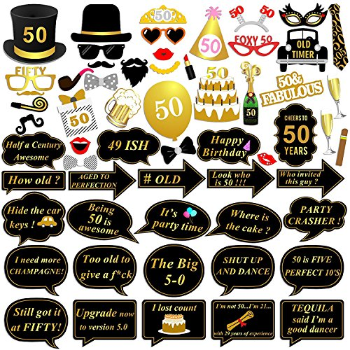 59 pcs 50. Geburtstag Photo Booth Requisiten, Konsait Fotoaccessoires Foto Maske DIY Photo Booth Prop Kits mit Stick für 50th Geburtstag dekoration lustige geschenke (50th Birthday Party Dekorationen)