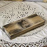 handmade4u Vintage Holz-Federkästchen Federmäppchen Federmappe Griffelkasten