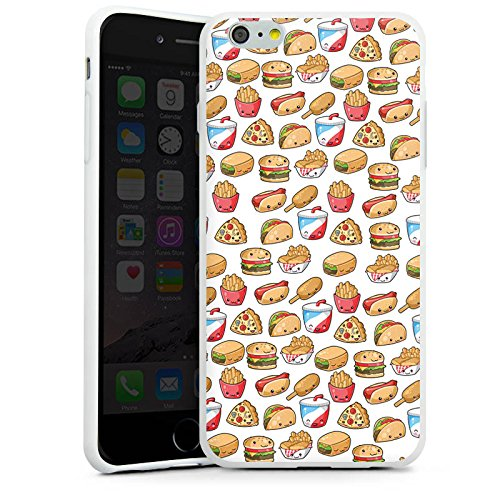 Apple iPhone X Silikon Hülle Case Schutzhülle Hamburger Pommes Pizza Silikon Case weiß