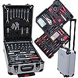 Professioneller Werkzeugkoffer 207-teilig Premium Aluminium Werkzeugtrolley - umfangreiches Werkzeug-Set im stabilen Alu-Koffer - perfekt für Haushalt, Garage, Werkstatt - aus...