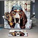 Beddingleer Cortina de Ducha 3D Perro con Gafas Impresión Impermeable y Resistente al Moho Secado Rápido Cortina de Ducha de baño con ganchos, naturaleza serie 180 x 180 cm