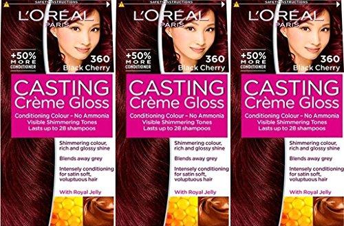 Sechs Packungen von LOreal Casting Crème Gloss Black Cherry 360