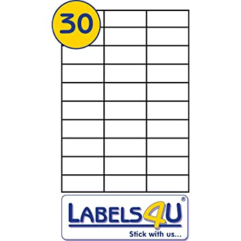 30 labels per sheet self adhesive printable with laser or copier or