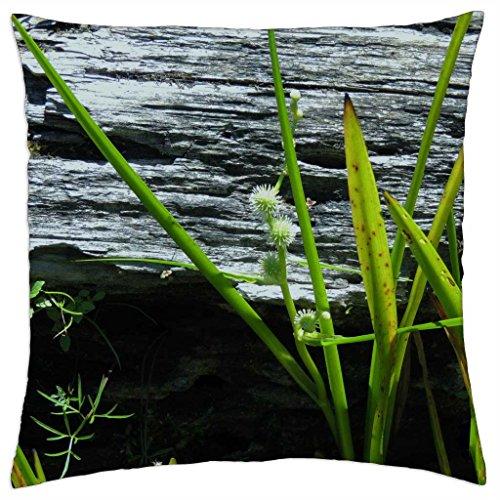 Flowering Lake Grass - Throw Pillow Cover Case - Grass Lake