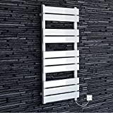 1000 x 450 mm Electric Heated Towel Rail White Flat Panel Bathroom Radiator