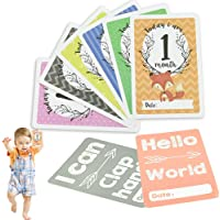 RMENOOR 36 Pcs Baby Milestone Cards Lovely Photography Props 1 Year Old Baby Memory Record Include Month Cards Skill Cards Festival Cards for Remembering Baby Girls Boys Memorable Moments