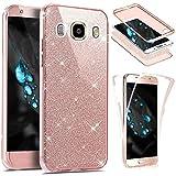 Galaxy J7 2016 Hülle,Galaxy J7 2016 Schutzhülle,JAWSEU 360°Full Body Cover Glänzend Glitzer Strass Handy Tasche für