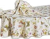 entzückende Tischdecke Oval 160x220 cm Pflegeleicht Creme Schmetterlinge Bunt Sommer Gartentischdecke Küchendecke Motivdruck (Tischdecke 160x220 cm oval)