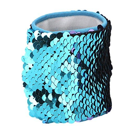 Armbänder, 2-farbig Reversible Charme Pailletten Slap Spielzeug Armband für Party, Dekor, Kindergeburtstag, Spielzeug,mit Super-Soft Velvet Futter (1 Stück) ()