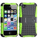 ykooe iPhone 4 Schutzhülle,iPhone 4s Hülle, Dual Layer TPU Handyhülle Drop Resistance Handys Schutz Case mit Ständer für Apple iPhone 4 4S (Grün)