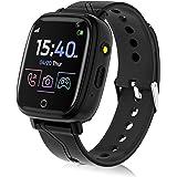 Smartwatch voor kinderen, telefoonfunctie, smartwatch voor jongens en meisjes, 4-12 jaar, touchscreen, telefoonhorloge met op