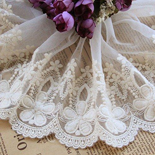 Beige 5Meter Retro Baumwolle Stickerei Spitze Kleid Rand Spitze Trim Stoff Ribbon Hochzeit Craft Zubehör 57/20,3cm breit -