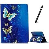 Samsung Galaxy Tab S2 9.7 Hülle,Slynmax Schutzhülle Smart Case Tasche Golden Schmetterling Flip Case Standfunktion für Samsung Galaxy Tab S2 9.7 (9.7 Wi-Fi SM-T810 / LTE SM-T815) - Blau