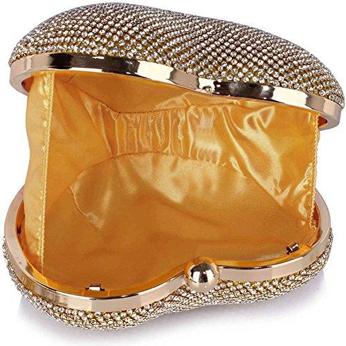 TrendStar Womens Designer Clutch Bag Sehr geehrte Damen Stil Flap Handtasche Hochzeit Tasche Gold