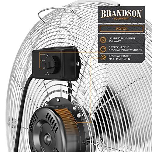 Brandson - Windmaschine Retro Stil 120 Watt | Ventilator in Chrom | Standventilator 50cm | Bodenventilator | hoher Luftdurchsatz | stufenlos neigbarer Ventilatorkopf | silber