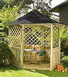 """Jardín Verde - Quiosco Hexagonal """"Winchester"""" de Madera con Balaustrada.Techo de Tejas Asfálticas. Lados Enrejados. Con Suelo. Dimensiones: h2,8m x 1,82m x 2,1m"""
