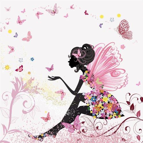 Fototapete Schmetterlingselfe KT438 Größe: 300x260cm Kinder Märchen Mädchen