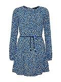 TOM TAILOR für Mädchen Kleider & Jumpsuits Gemustertes Kleid mit Taillengürtel Black iris Blue, 152