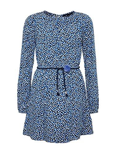 TOM TAILOR für Mädchen Kleider & Jumpsuits Gemustertes Kleid mit Taillengürtel Black Iris Blue, 176