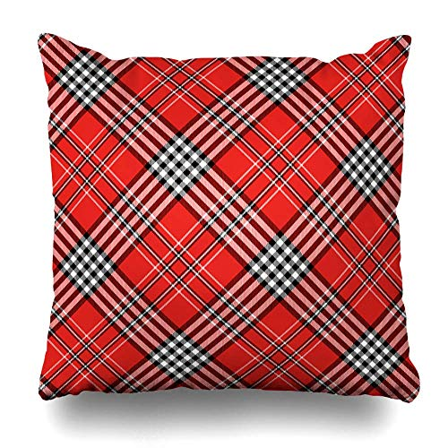 Zierkissenbezüge, Throw Pillow Covers, Gingham Red Black Tartan Plaid Pattern Napkin Checkered Border Check Checker Chequer Classic Graphic Home Decor Pillowcase Square Size 18