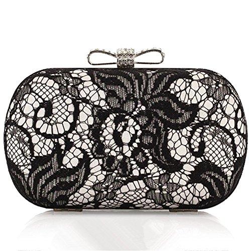 ERGEOB® Donna Clutch sacchetto di sera borsetta Clutch piccola pizzo frizione Borsa della sposa argento