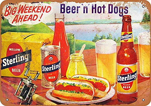 Sign 7 x 10 Metal Sign Sterling Beer and Hot Dogs Vintage Look Wall Sign Decorative Sign Retro Sign Aluminum Sign ()