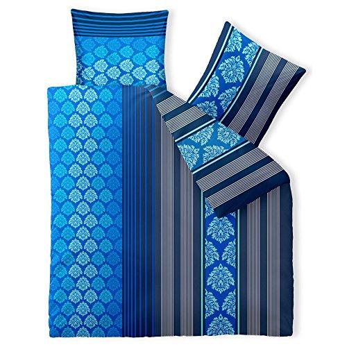 aqua-textil Trend Bettwäsche 200 x 200 cm 3-teilig Bettbezug Baumwolle Nala Streifen Muster blau weiß 0011809 (Haut Top Zip)