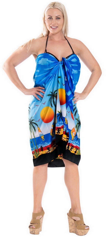 LA LEELA Donne Morbido Costume da Bagno Luce Involucro della Spiaggia Sarong Stampati 5 spesavip