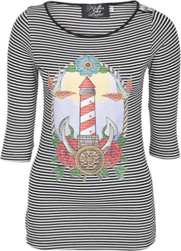 Küstenluder LIGHTHOUSE Leuchtturm Oldschool Sailor Streifen 3/4 Arm SHIRT Rocka