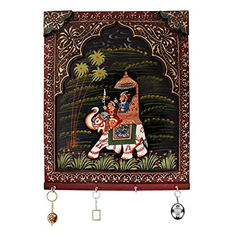 Hand Carved Dhola Maru Painted 4 Key Wooden Stand