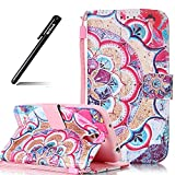 Hülle für Samsung Galaxy S4,Case für Samsung Galaxy S4,BtDuck Rosa Hülle Handyhülle PU Leder Tasche Case Mandala Brieftasche Etui Hülle Schutzhülle Galaxy S4 Silikon Stand Blume Lederhülle Wallet Case