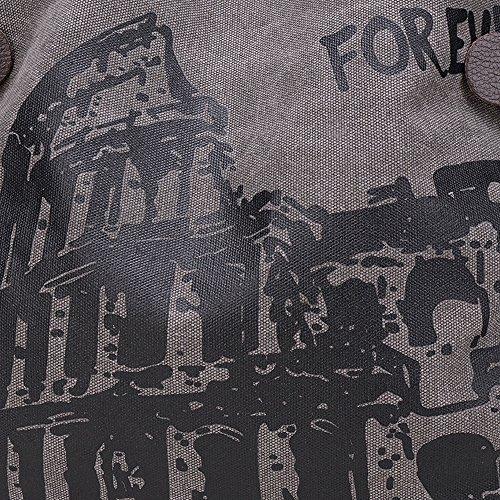 BYD - Donna Large Bag Borse a spalla Mutil Pocket Design Bag Crossbody Bag Borse Tote Borse a mano Canvas with Rome Arena Picture Grigio