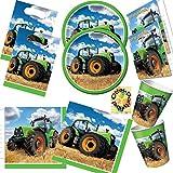 HHO Traktor Trekker Bauernhof Partyset 48 Teile Teller Becher Servietten Tüten Einladungen für 8 Kinder